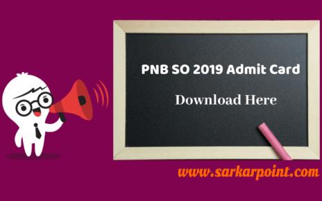 PNB SO Recruitment 2019 Admit Card