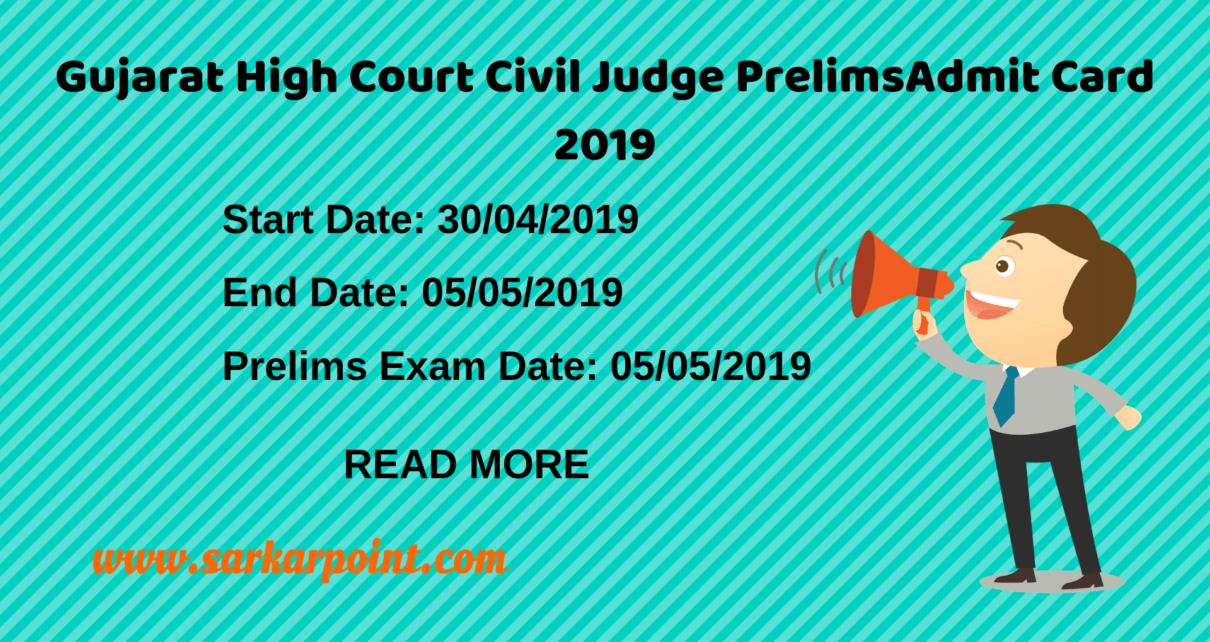 Gujarat High Court Civil Judge Prelims Admit Card