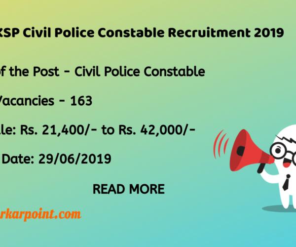 KSP Civil Police Constable Recruitment 2019