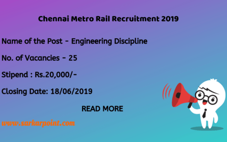 Chennai Metro Rail Recruitment 2019