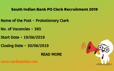 south indian bank po clerk exam 2019