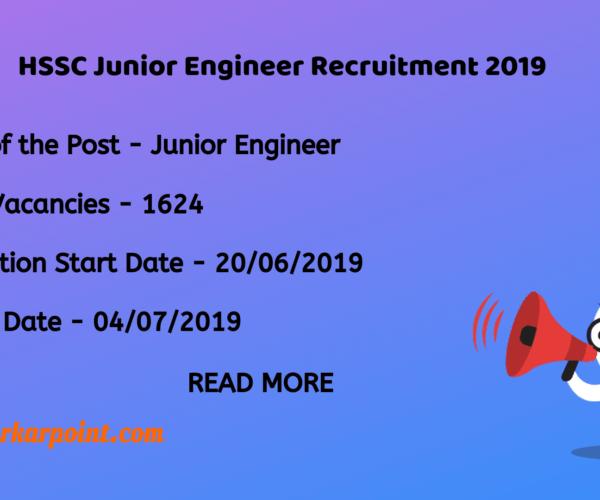 hssc junior engineer recruitment 2019