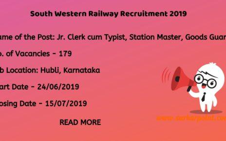 south western railway recruitment 2019