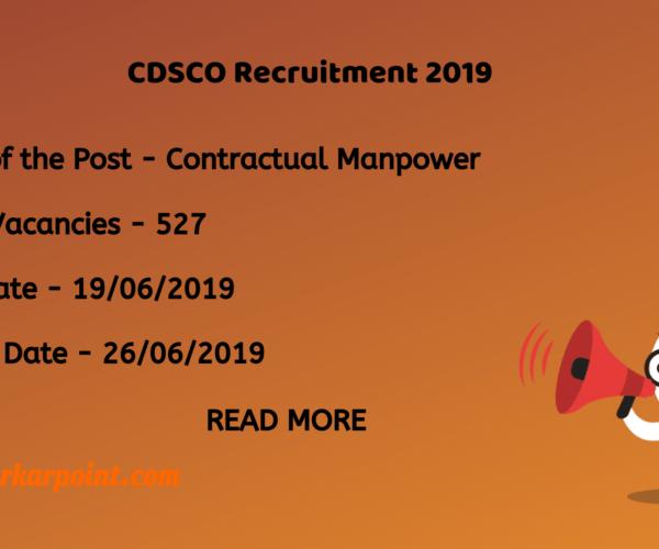cdsco recruitment 2019