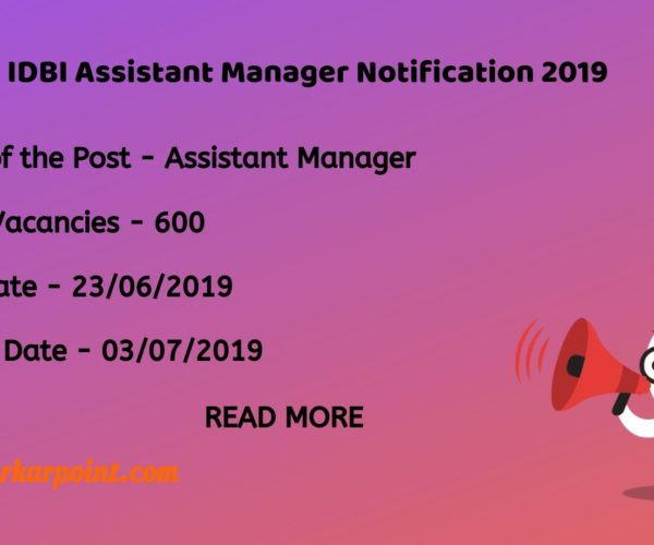 idbi assistant manager notification 2019