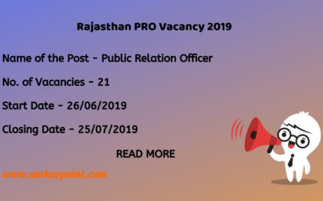 Rajasthan Pro Vacancy 2019