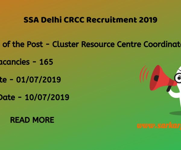 ssa delhi crcc recruitment 2019