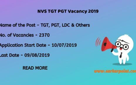 NVS TGT PGT Vacancy 2019