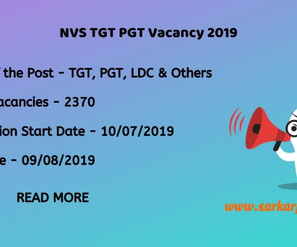NVS TGT PGT Vacancy 2019