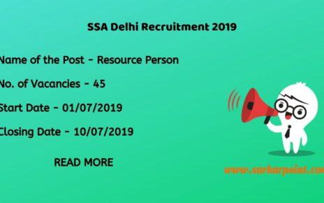 SSA Delhi Resource Person Recruitment 2019