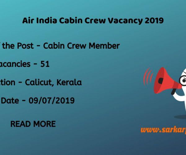 Air india cabin crew vacancy 2019