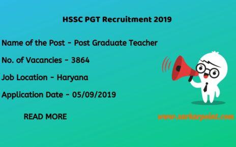 hssc pgt teacher recruitment 2019