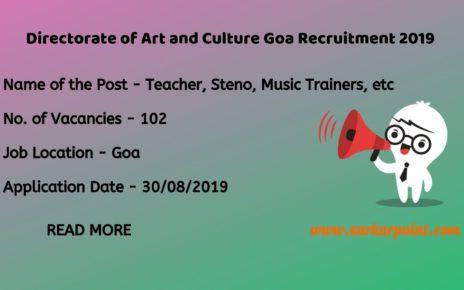 directorate of art and culture goa recruitment 2019