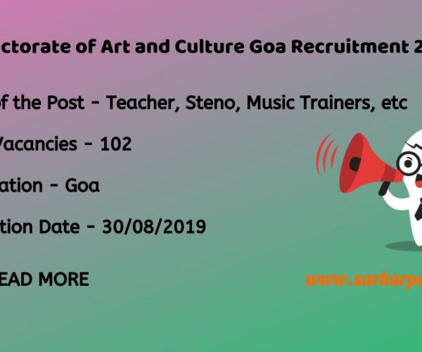 directorate of art and culture goa recruitment 2019