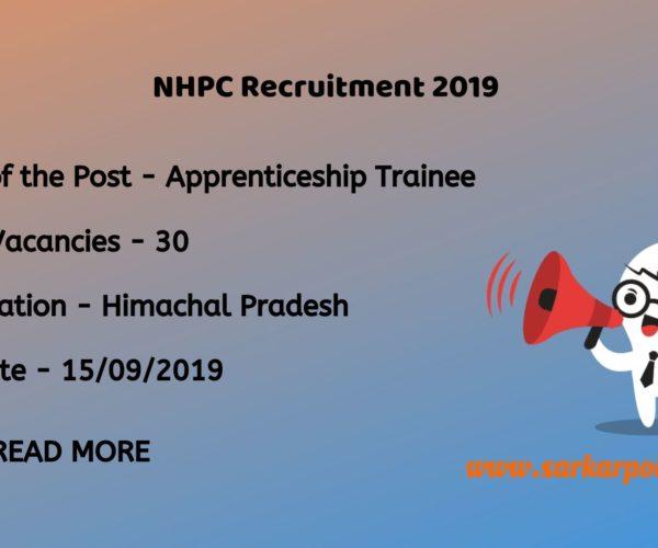 NHPC Apprentice Trainee Recruitment 2019