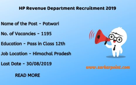 HP Revenue Dept Patwari Notification 2019