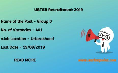 UBTER Group D Recruitment 2019