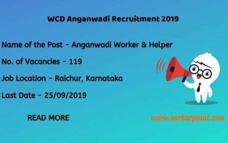 WCD Raichur Recruitment 2019