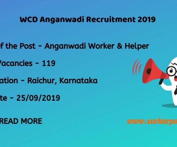 WCD Raichur Recruitment 2019