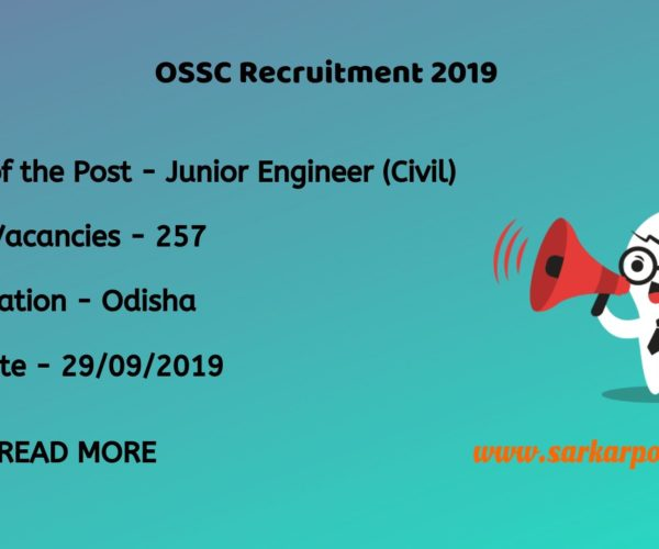 ossc junior engineer civil recruitment 2019