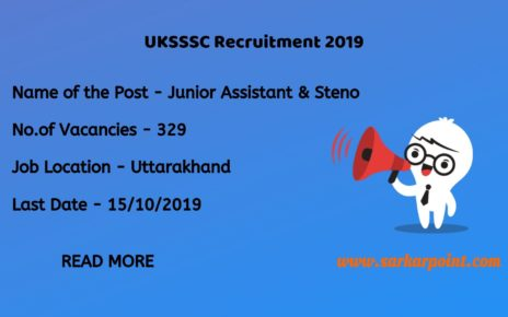 UKSSSC Junior Assistant Recruitment 2019