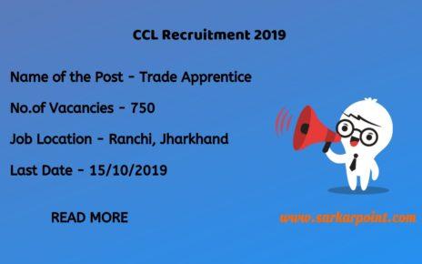 Central Coalfields Limited Recruitment 2019