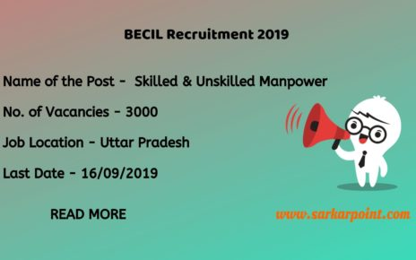 BECIL Skilled Manpower Recruitment 2019