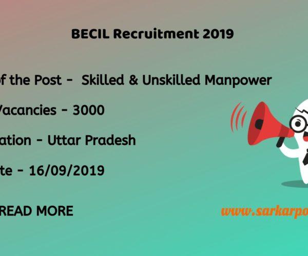 BECIL Skilled Manpower Recruitment 2019