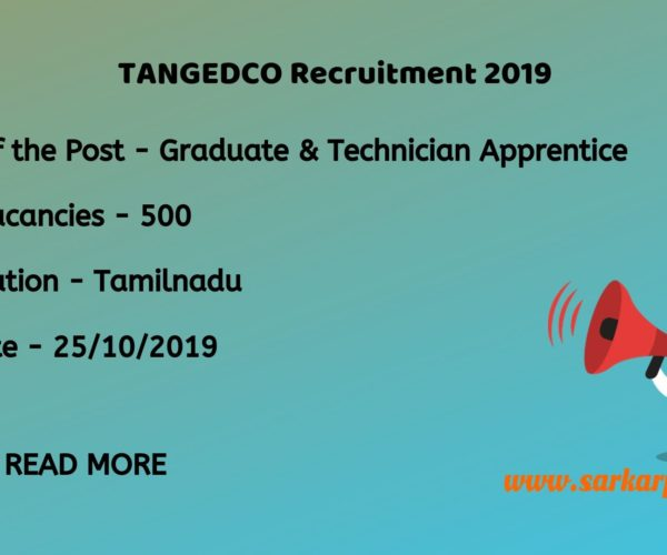 TANGEDCO Apprentice Recruitment 2019