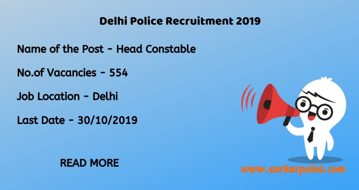 delhi police head constable notification 2019