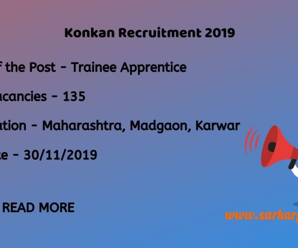 Konkan Railway Recruitment 2019