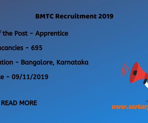 BMTC Recruitment 2019