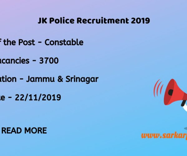 Jammu and Kashmir Police Constable Recruitment 2019