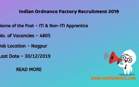 Indian Ordnance Factory Recruitment 2019