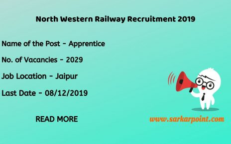 North Western Railway Apprentice Recruitment 2019