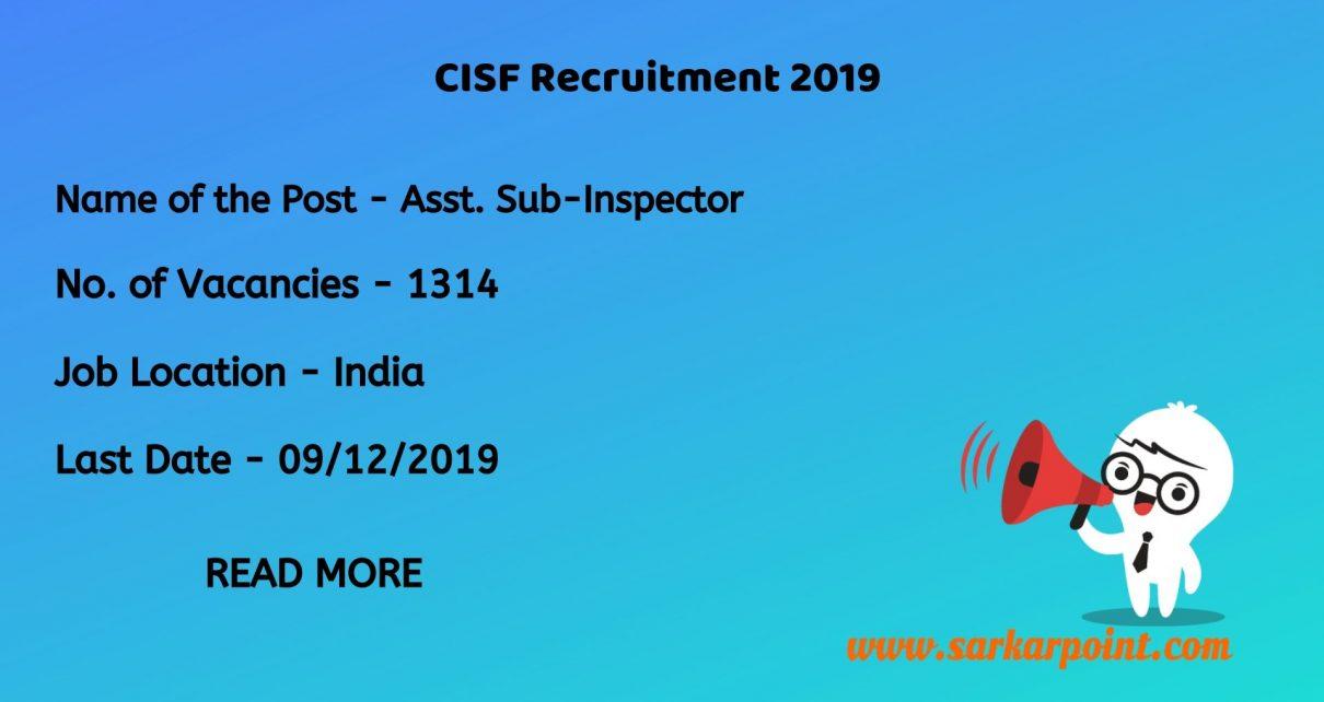 CISF ASI LDCE Recruitment 2019