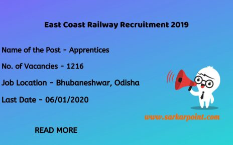 East Coastal Railway Apprentice Recruitment 2019