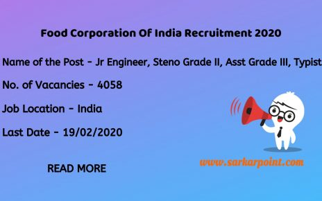 Food Corporation Of India Junior Engineer Recruitment 2020