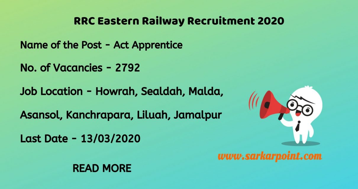 RRC Eastern Railway Apprentice Recruitment 2020