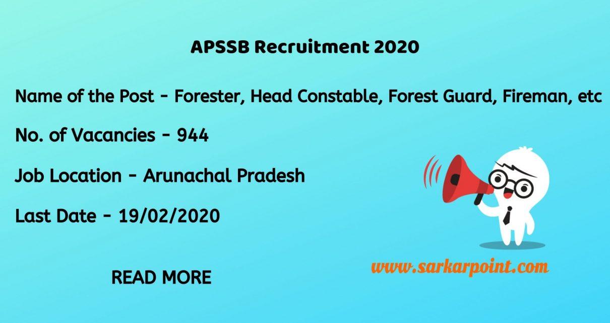Arunachal Pradesh Staff Selection Board Recruitment 2020