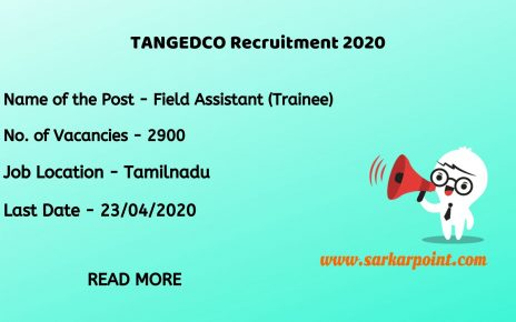 TNEB TANGEDCO Field Assistant Recruitment 2020
