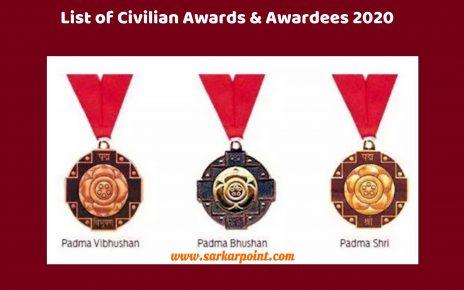 List of Civilian Awards & Awardees 2020